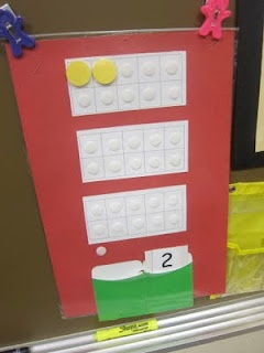 Tens frame practice at calendar time using Velcro and counters.  PLUS!  Check out the part about building a puzzle.