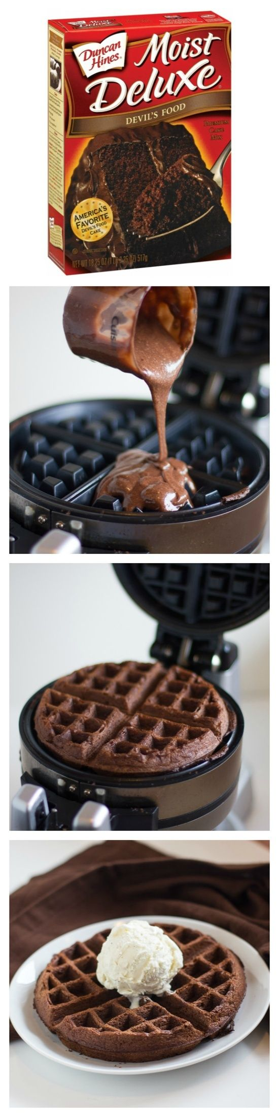 Cake Mix Waffles - make the cake batter as instructed on the box then make them just like you do waffles. Top with your favorite ice cream!. WHAT A GREAT IDEA!!!