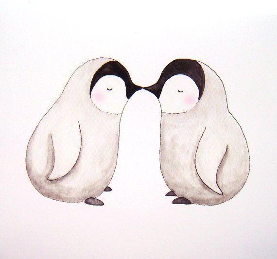 Kissing Penguin Love Illustration Print Cute Baby Penguins Kiss Grey Pink Black White Home Wall Decor Nursery Art 5x7 Clean Simple Modern