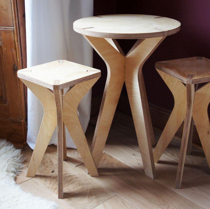 side table - birch plywood furniture - collection - flatpack - nomadic design studio - bespoke - handmade