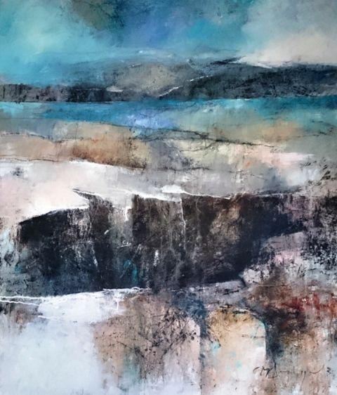 Marjan Nagtegaal. De afgrond. Een landschap met bergen en diepe afgronden in heldere blauwe en grijze tinten.