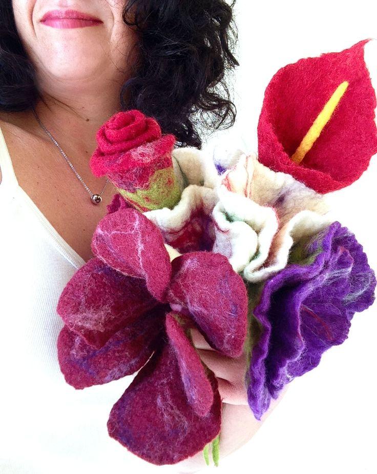felted flower bouquet -unique moments- www.qaraqul.etsy.com #qaraqul