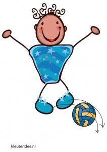 Bewegingskaart bal voor kleuters, over de bal springen, kleuteridee.nl, free printable moving cards for preschool.