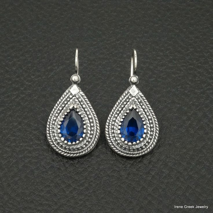 LUXURY PEAR SAPPHIRE CZ ETRUSCAN 925 STERLING SILVER GREEK HANDMADE EARRINGS #IreneGreekJewelry #DropDangle