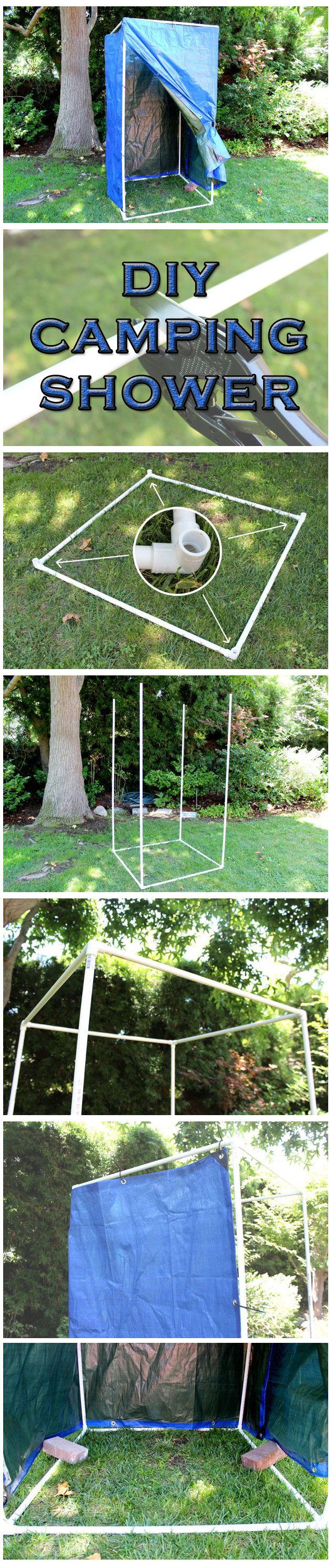A portable shower that you can take camping with you so you have privacy! Easy to DIY in just 6 steps! Make it even simpler by making it a free standing one.