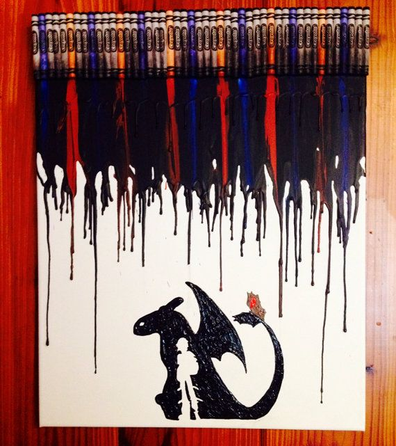 How to train your Dragon melted crayon art on Etsy, $35.00