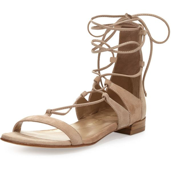 Stuart Weitzman Tie-Up Suede Flat Gladiator Sandal (1.760 RON) ❤ liked on Polyvore featuring shoes, sandals, flats, zapatos, beach, strappy flat sandals, flat gladiator sandals, beach sandals, flat sandals and t-strap flats