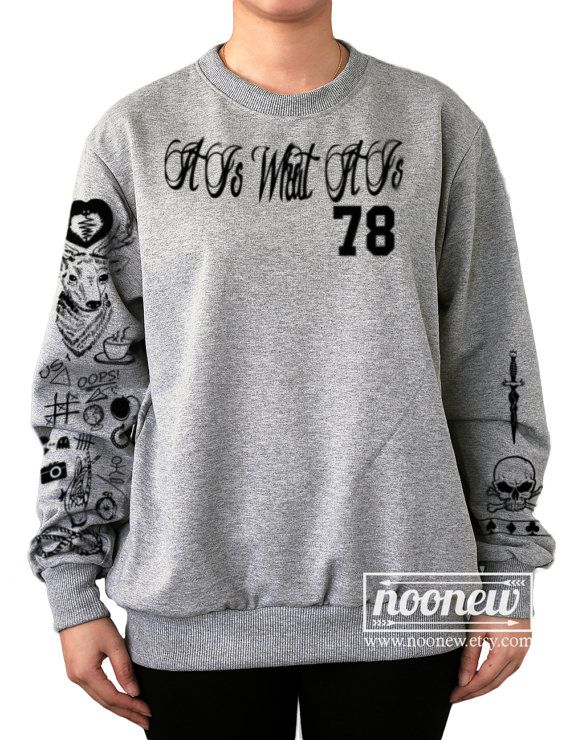 Louis Tomlinson Tattoo Sweatshirt Pullover Crew Neck Shirt hinzufügen TOMLINSON 91 auf der Rückseite-Größe S M L XL 2XL