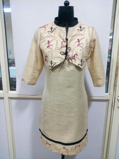 Traditional printed Handloom Cotton Silk Kurti