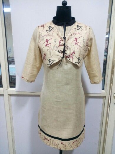 Traditional printed Handloom Cotton Silk Kurti