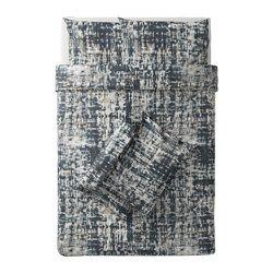 SKOGSLÖNN Quilt cover and 4 pillowcases, black, multicolour - black/multicolour - 200x200/50x80 cm - IKEA