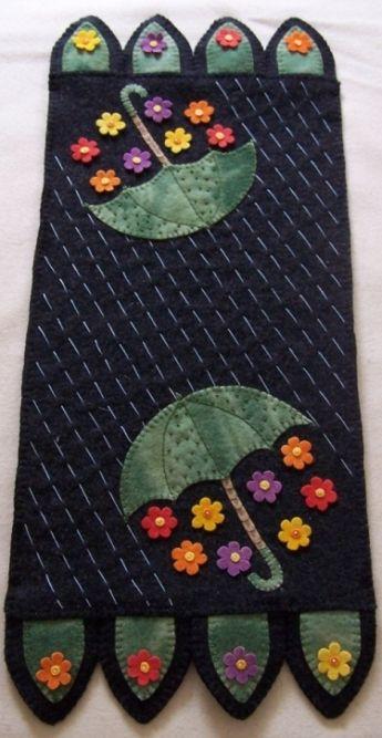 Showers Bring Flowers Pattern-cath's pennies designs, wool, woolfelt, wool felt, pattern, spring, showers, umbrella, rain, summer, penny rug, candle mat
