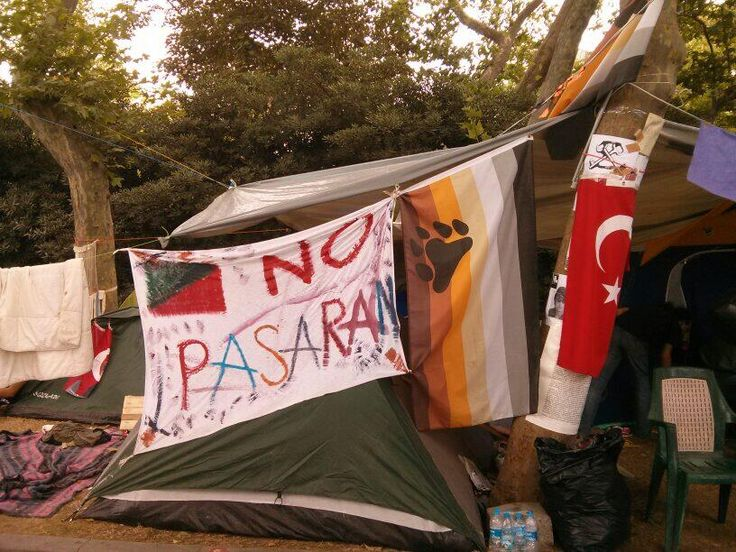 Gezi is an incredibly heterogenous political space. Turkish flags, animal rights, Spanish civil war slogans & more..