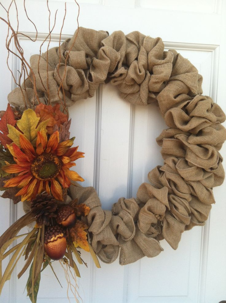 Burlap wreaths for fall. @Nancy Bues is this what you were talking about?
