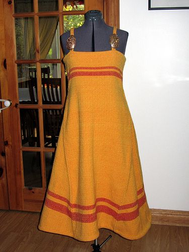 Norse apron dress from handwoven wool - by Her Excellency Catherine -- but then black with White trimmings