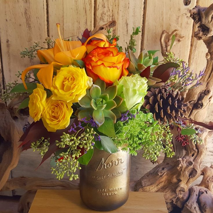 Succulent Fall Mason Jar by BloomNation local florist, Paradise Valley Florist for $45.00: