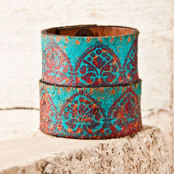 Turquoise Jewelry Cuffs / Southwest Bracelets - Leather Wristbands - Boho Accessories - Hippie Fashion - Festival - Festival