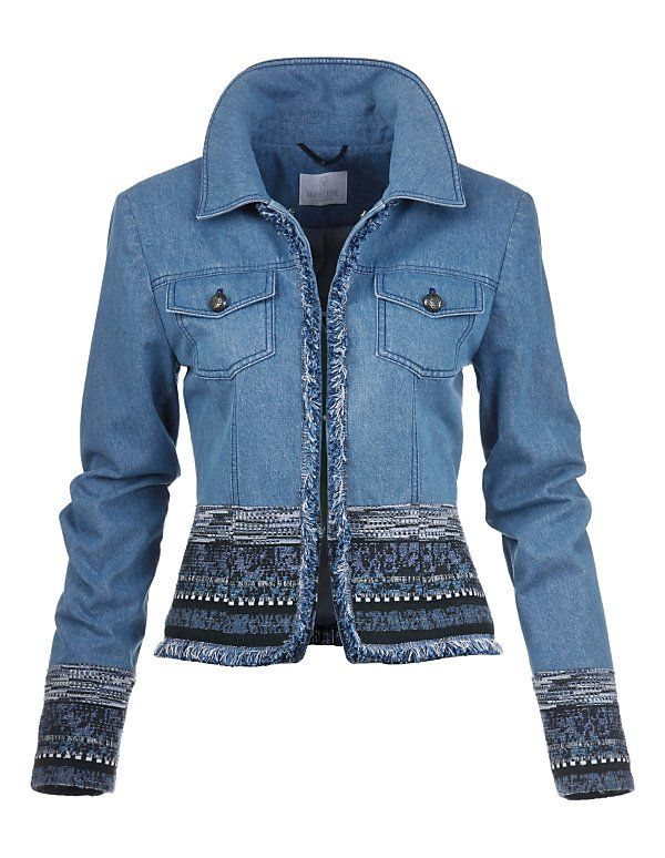 Madeleine Jeans jacket light denim blue print ethno look spijkerjasje jack print borduursels licht denim blauw