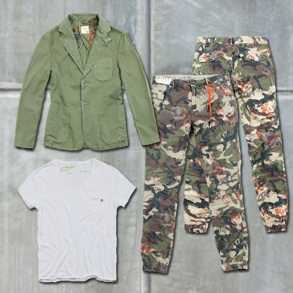 Friday Night Out #40weft #menfashion #SS2014 #Camouflage #flower #tee #Jacket #Militarygreen #fashionblogger #repin