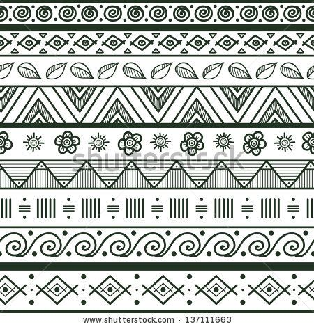 Tribal striped hand drawn seamless pattern. Geometric black-white background. Swatches of seamless pattern included in the file.