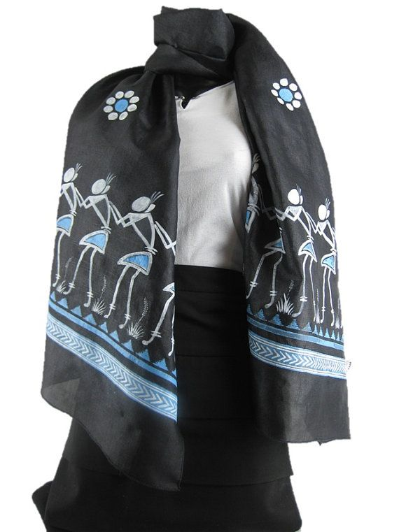 **** Black Beauty ****    This scarf has traditional East Indian art forms depicting the traditional dance of the land. The blue and white shades have been used to clearly depict the detail and sheer joy in the activity shown here.    Women's Traditional Hand Painted Scarf by ArachneStyle on Etsy, $75.00