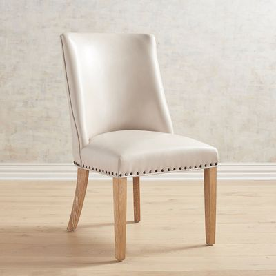 Corinne Ivory Dining Chair with Natural Stonewash Wood