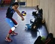 Cabral, captain of the Dominican Republic volleyball team practices during training season at the Olympic center in Santo Domingo