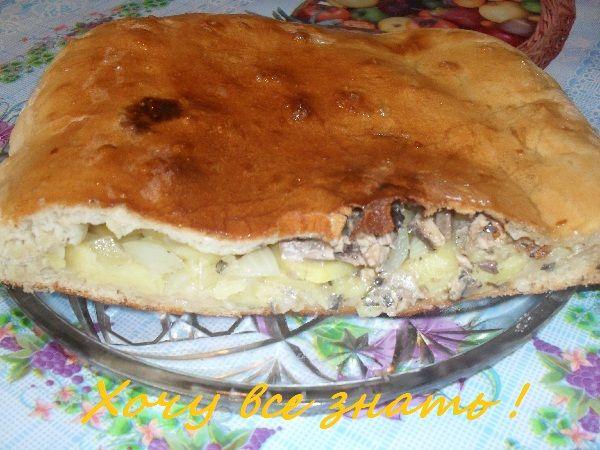 Домашний пирог с картофелем и рыбой.