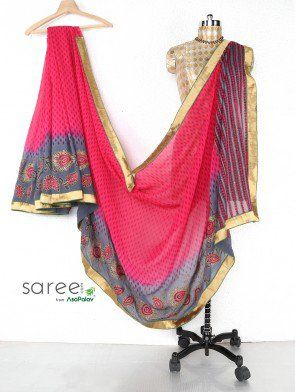 Pink and Grey Georgette Saree with Stone and Zari Work