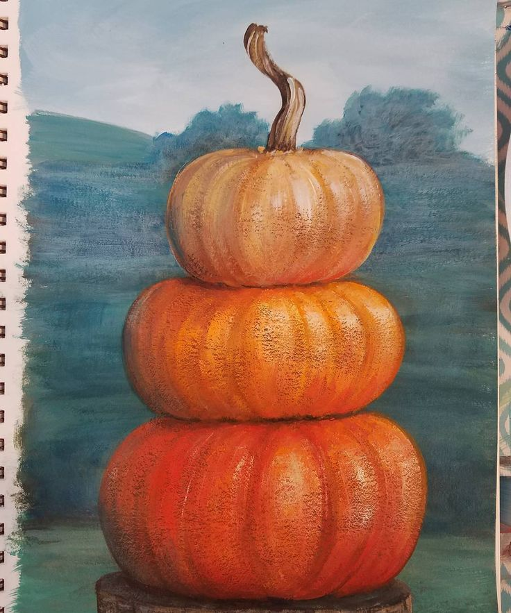 Stacked Pumpkins Acrylic Painting Tutorial by Angela Anderson on YouTube. Free Full length Live Art lesson. Fall Canvas Painting. How to paint a pumpkin. #AcrylicPainting by #angelafineart