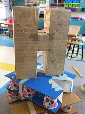 Paper Mache letters with dixie cups