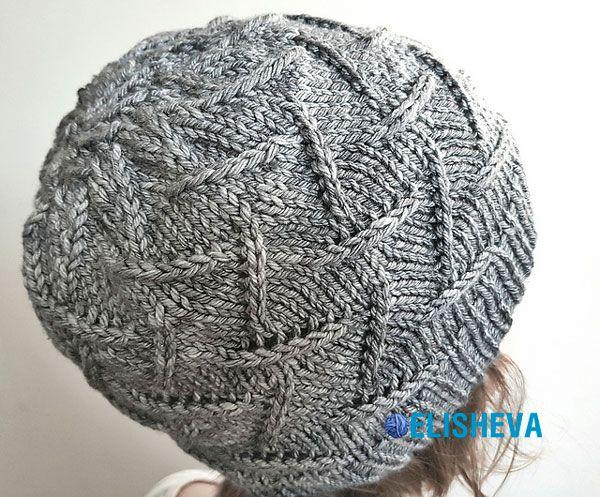 """Женская шапка """"Ирма"""" вязаная спицами, дизайн Анета Гасиоровска"""