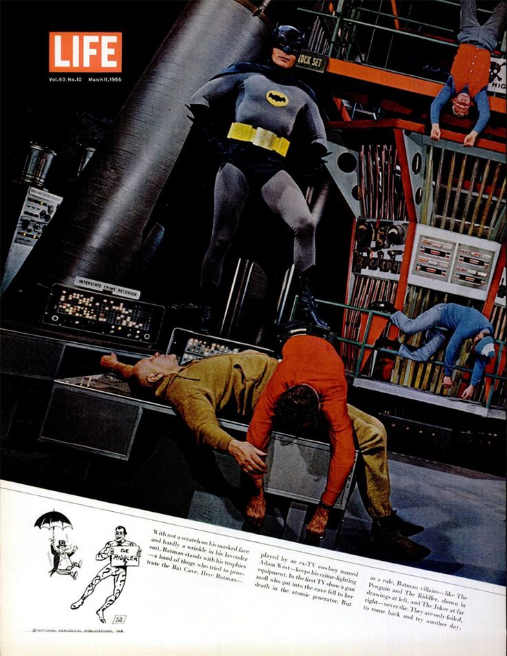 Batman is king of the Batcave in this spread from the March 11, 1966, issue of LIFE magazine.