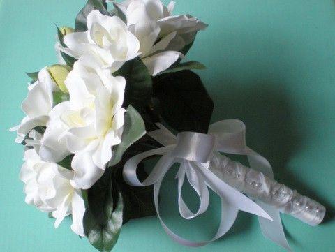 White Gardenia Wedding Bouquet by GardenLeafDesign on Etsy