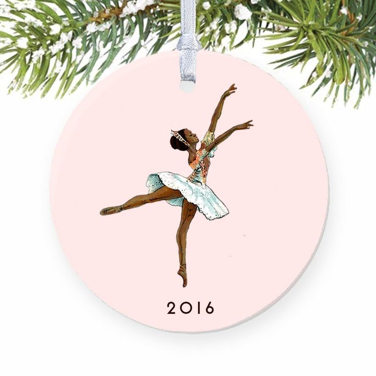 "Black Ballerina Ornament 2016, Nutcracker Ballet Sugarplum Fairy Ballet Porcelain Ornament, Dark Skin Ballerina 3"" Flat Circle Christmas Ornament with White Ribbon & Free Gift Box   Emma"