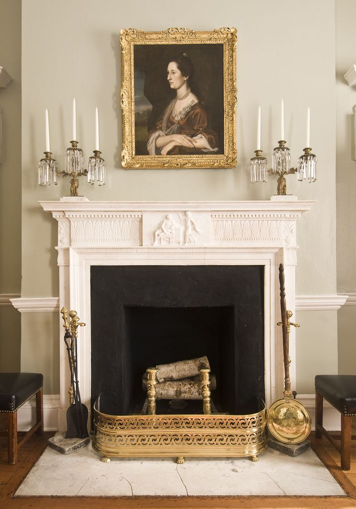 Chase-Lloyd House, 22 Maryland Ave., decorative carving by William Buckland, 1769-1774, Annapolis, Maryland: front left room mantel