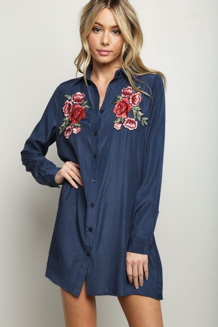 STYLE # 156510  JUNIOR SIZE PATCHED BUTTON DOWN CHAMBRAY SHIRT DRESS
