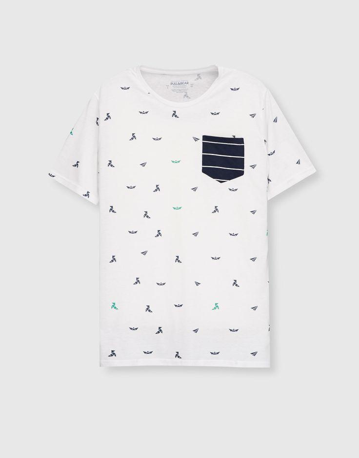Camiseta blanca estampada bolsillo - Camisetas - Ropa - Hombre - PULL&BEAR México