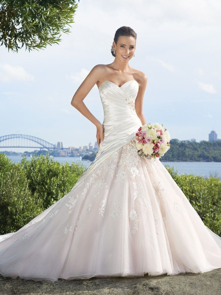Duchess Satin/Tulle Strapless Ballgown with Asymmetrical Draped Bodice with Crystal Embellishment