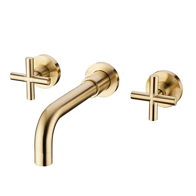 Trustmi Brushed Gold Bathroom Faucet Double Handle Wall Mount Bathroom Sink Faucet And Rough Wall Mount Faucet Bathroom Sink Faucet Wall Mounted Bathroom Sinks