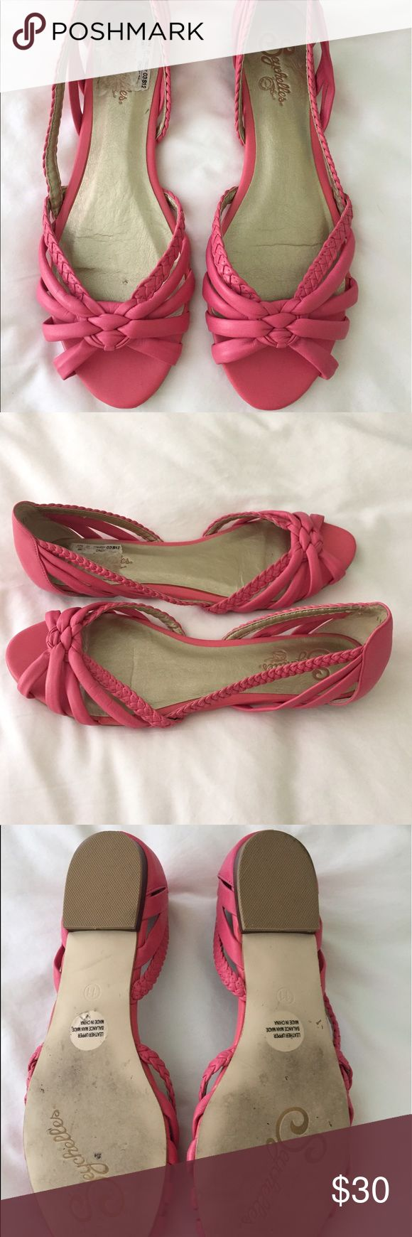 Seychelles Pink braided peep toe flat Beautiful bright pink (almost coral pink) Seychelles flat. Peep toe. NWOT. Never worn. Part of tag stuck to sole of shoe just from storage in closet. Leather upper. Seychelles Shoes Sandals