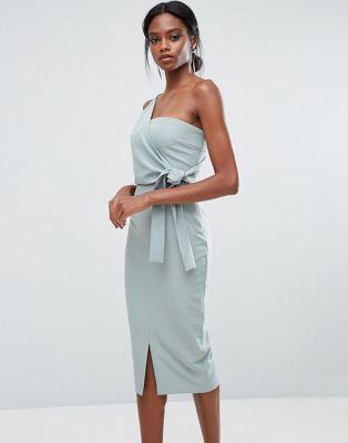 Lavish Alice One Shoulder Pencil Dress With Tie Detail