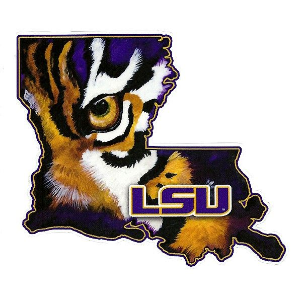"5"" x 5.5"" LSU Tiger Eye State of Louisiana Automotive Decal"