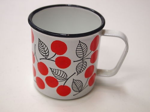 ARABIA-FINEL-FINLAND-ESTERI-TOMULA-ENAMEL-mug-1960s-KIRSIKKA-PATTERN on ebay