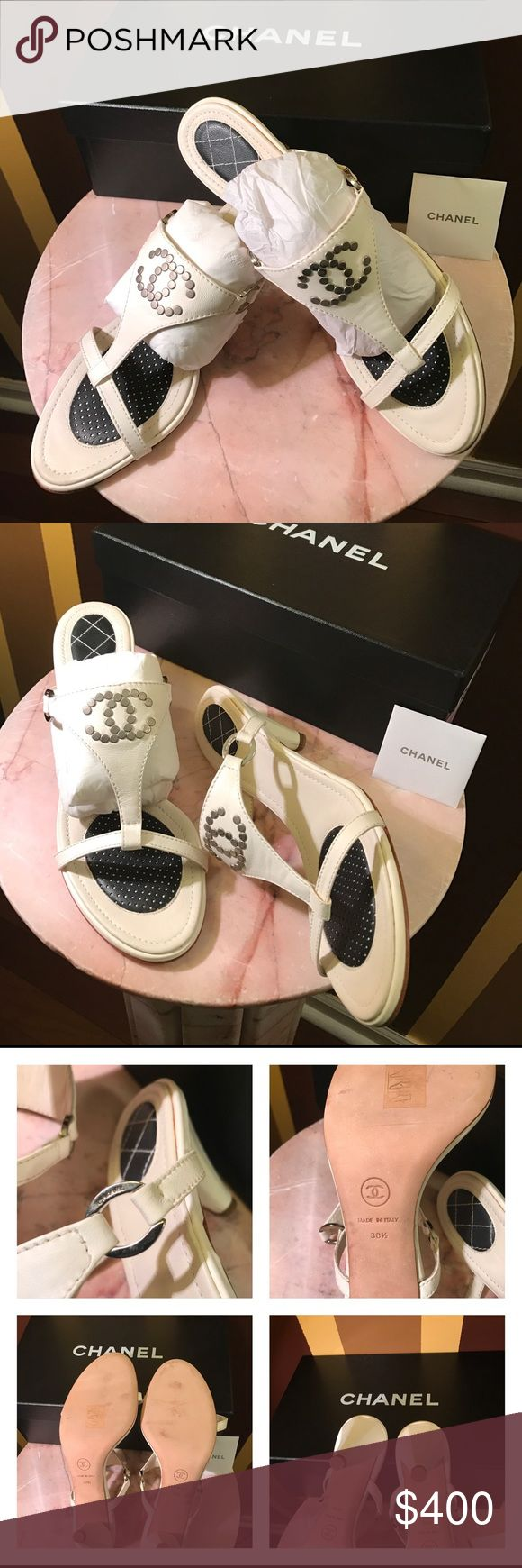 Chanel ivory sandals size 38.5 Very gently used as you could tell from the pictures 💯 Authentic Chanel ivory color size 38.5  !! but runs small (with out box )coms with duster bag only in excellent condition original price was $ 1195 . CHANEL Shoes Sandals