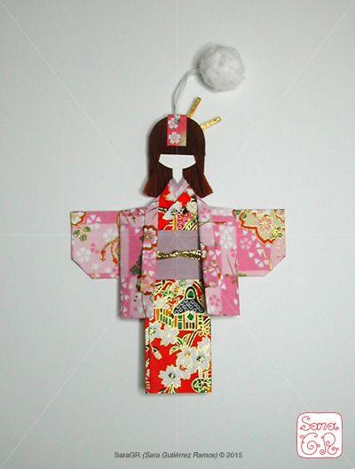 Sakura haori kimono shiori ningyo bookmark, by SaraGR http://saragrcreative.wix.com/saragrportfolio