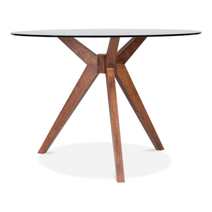 Cult Living Vallentuna Glass Round Dining Table   Walnut