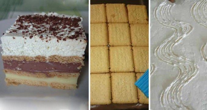 Vynikající čokoládovo-vanilkové řezy z bebe sušenek | NejRecept.cz