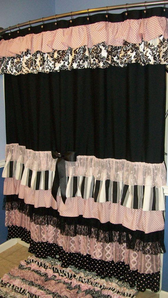 Shower Curtain Cascading Ruffles Custom Made Designer Fabric Black, Pink,  White Damask, Stripes