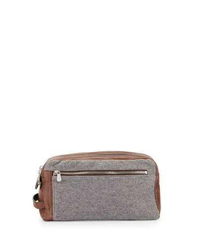 Brunello+Cucinelli+Leather+Wool+Cashmere+Travel+Toiletry+Bag+Tan+Gray
